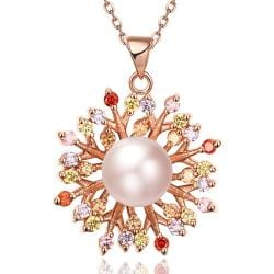 Vienna Jewelry Rose Gold Plated Blossoming Pearl Necklace