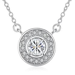 Vienna Jewelry White Gold Plated Circular Crystal * Pendant Necklace - Thumbnail 0