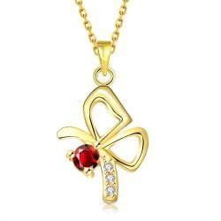 Vienna Jewelry Gold Plated Petite Flying Butterfly Necklace - Thumbnail 0