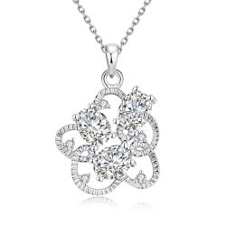 Vienna Jewelry White Gold Plated Intertwined Trio-Crystal Necklace - Thumbnail 0