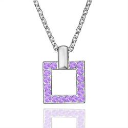 Vienna Jewelry White Gold Plated Square Shaped Purple Citrine Necklace - Thumbnail 0