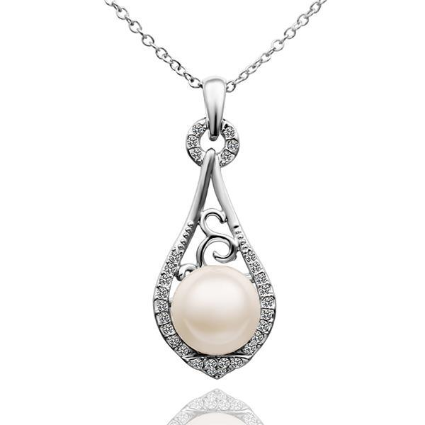 Vienna Jewelry White Gold Plated Curved Pearl Emblem Drop Necklace