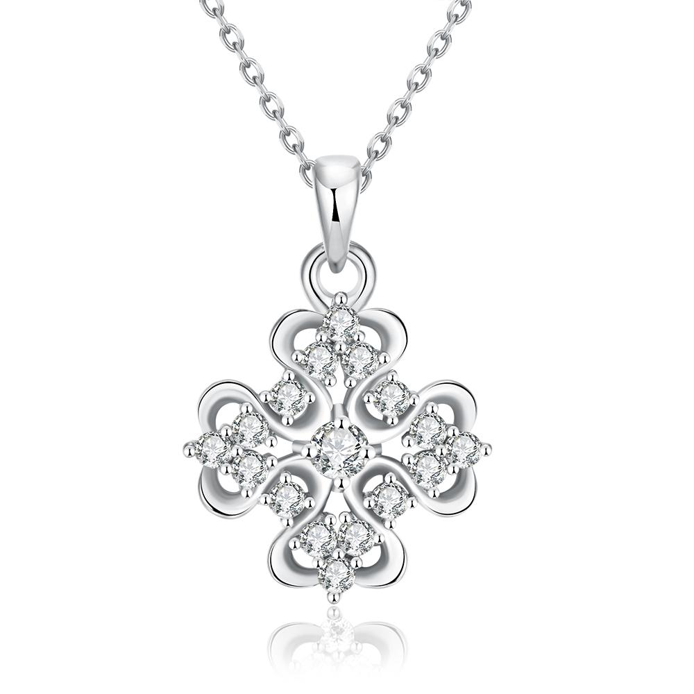 Vienna Jewelry White Gold Plated Classic Snowflake Necklace