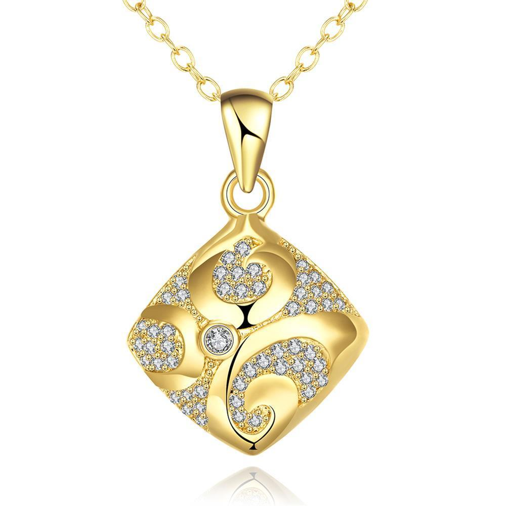 Vienna Jewelry Gold Plated Sophistacted Rhombus Necklace