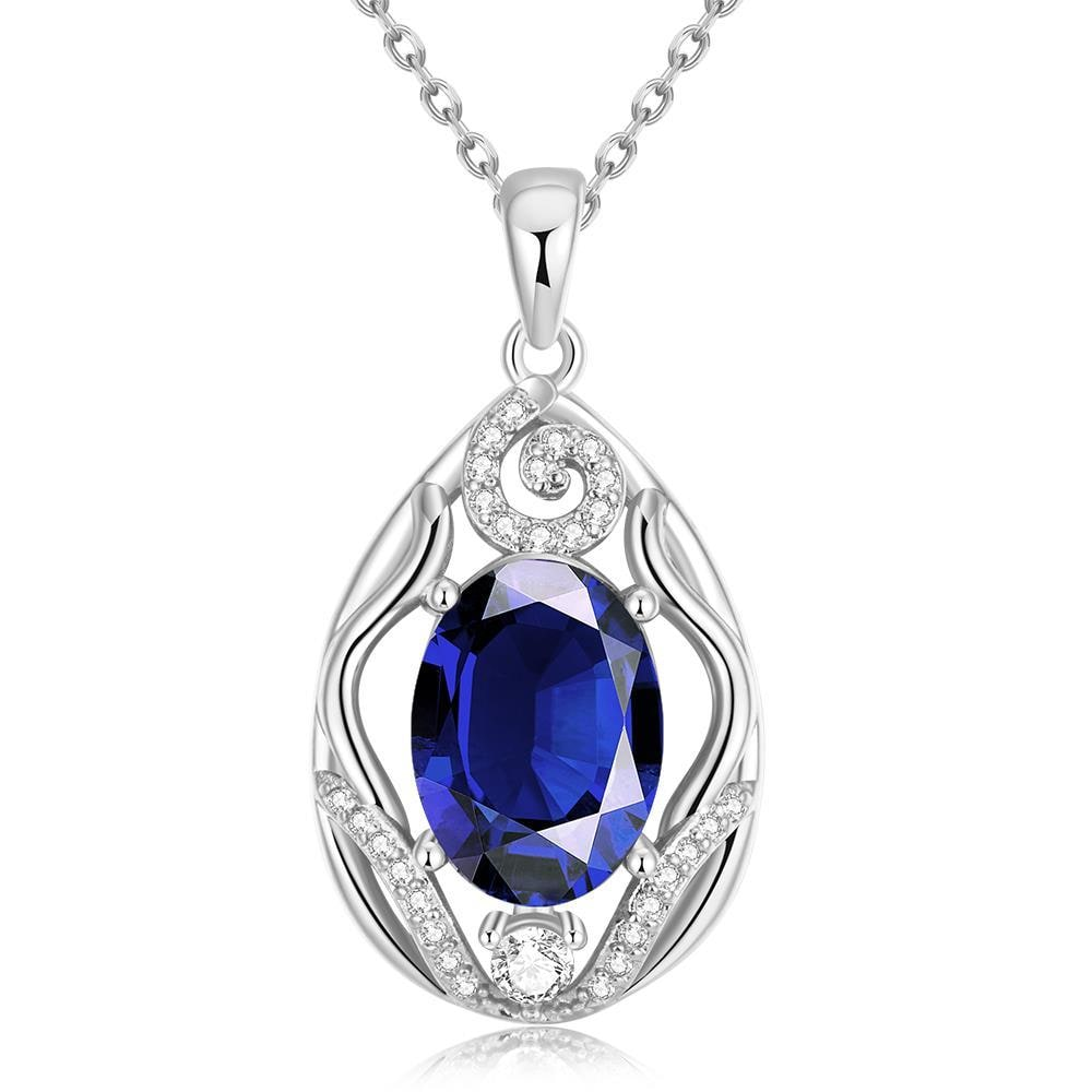 Vienna Jewelry White Gold Plated Classic London Saphire Necklace