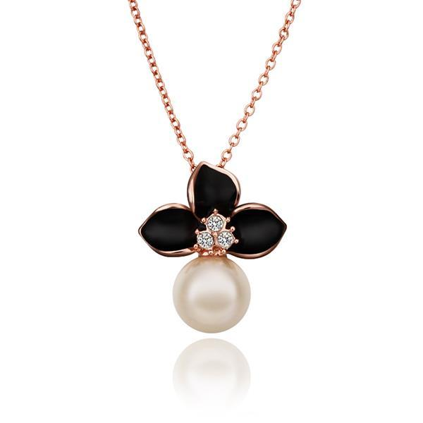 Vienna Jewelry Rose Gold Plated Onyx Trio-Petals Emblem Necklace