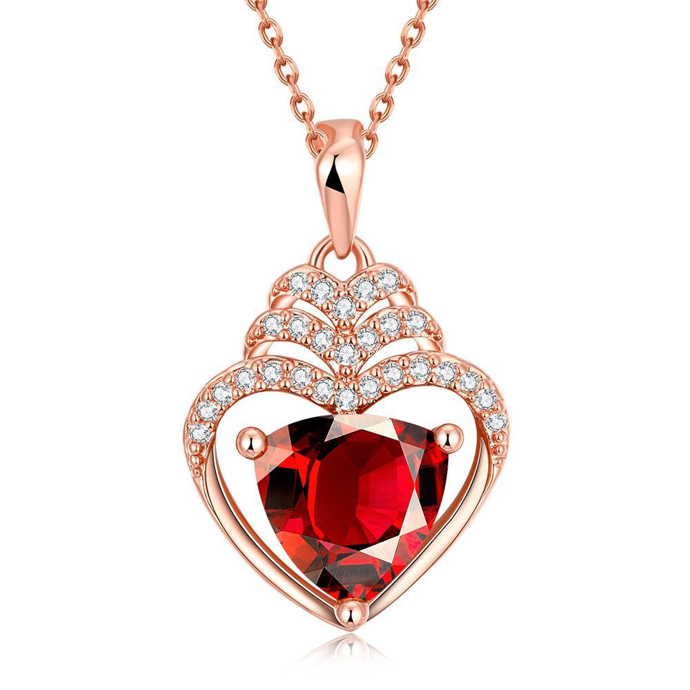 Vienna Jewelry Rose Gold Plated Hollow Heart with Ruby Gem Necklace