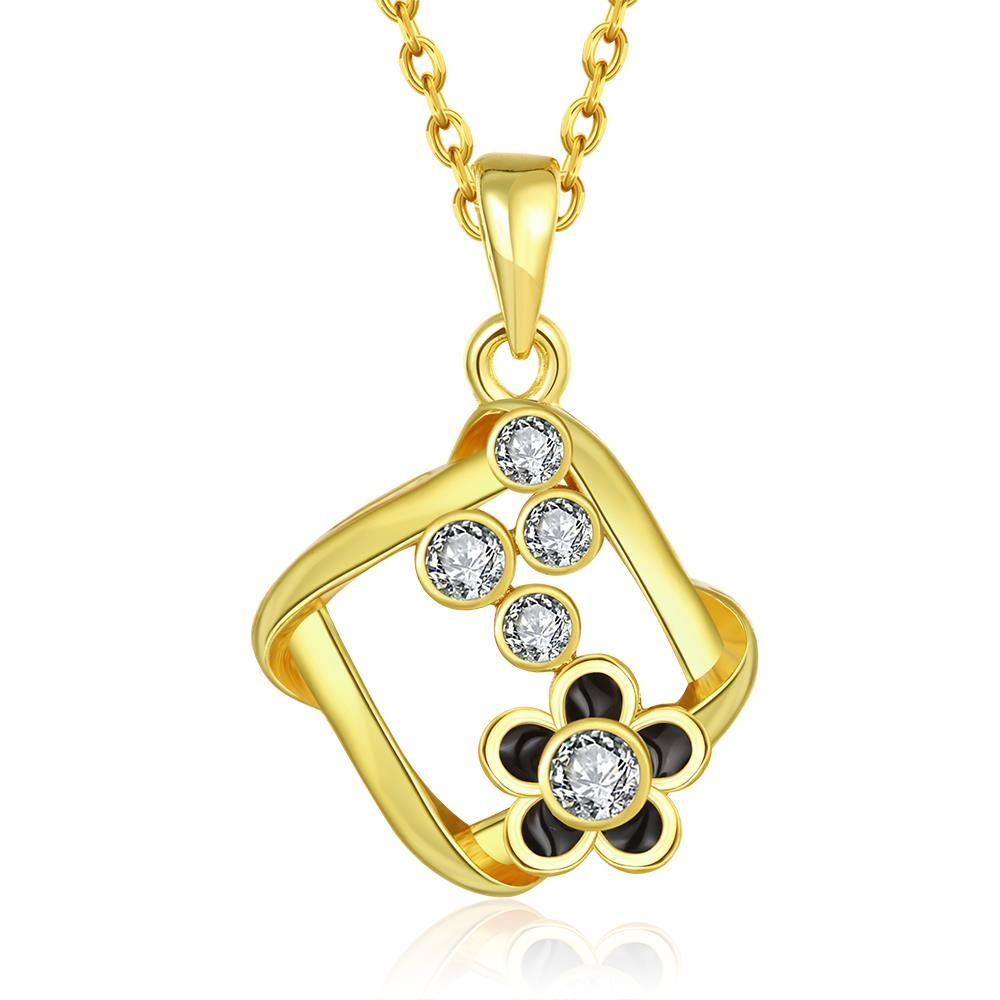 Vienna Jewelry Gold Plated Spiral Square Emblem Pendant Necklace