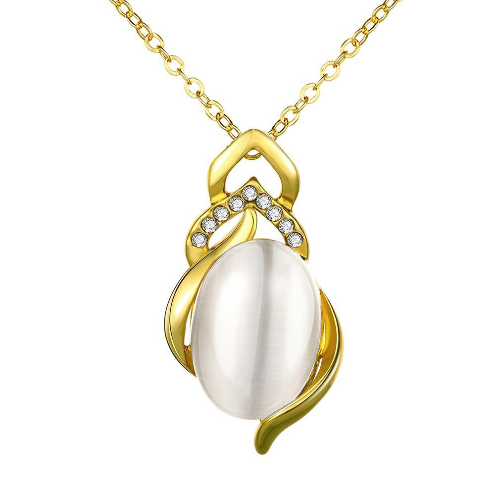 Vienna Jewelry Gold Plated Spiral Pearl Emblem Necklace