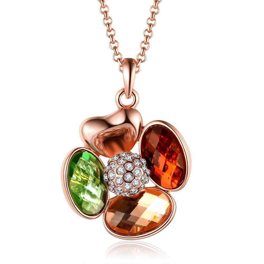 Vienna Jewelry Rose Gold Plated Rainbow Jewels Clover Necklace