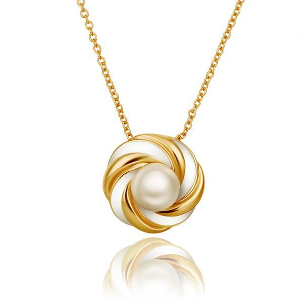 Vienna Jewelry Gold Plated Circular Gold & Ivory Emblem Necklace