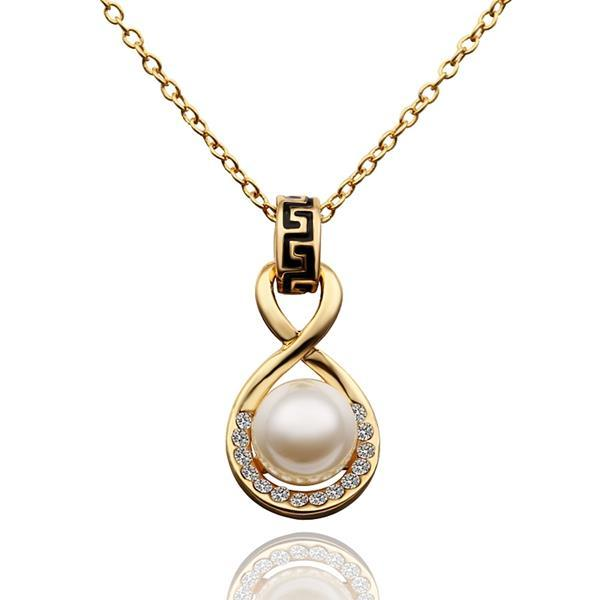 Vienna Jewelry Gold Plated Infinite Pearl Drop Necklace