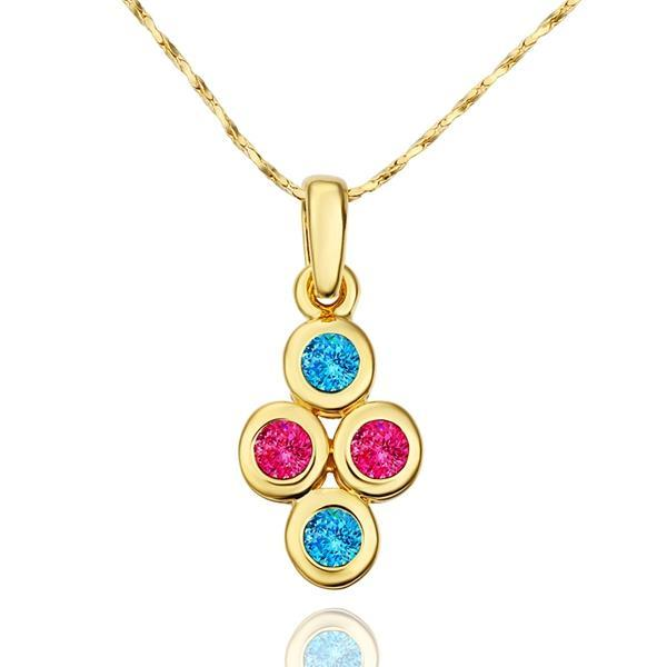 Vienna Jewelry Gold Plated Saphire & Coral Jewels Necklace