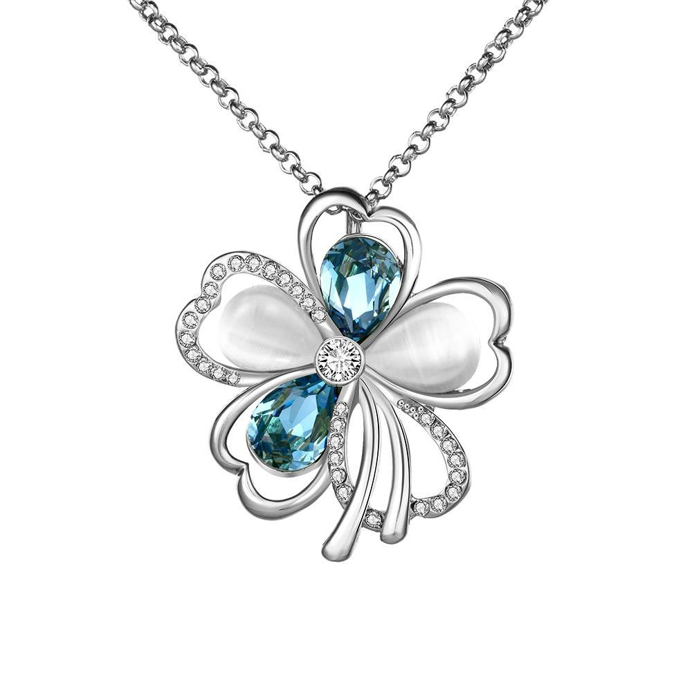 Vienna Jewelry White Gold Plated Sapphire & Ivory Clover Necklace