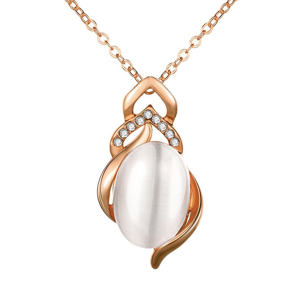 Vienna Jewelry Rose Gold Plated Spiral Pearl Emblem Necklace
