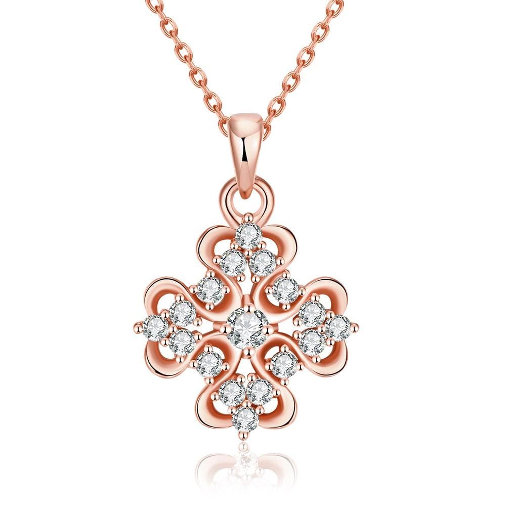 Vienna Jewelry Rose Gold Plated Classic Snowflake Necklace