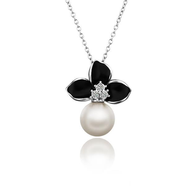 Vienna Jewelry White Gold Plated Onyx Trio-Petals Emblem Necklace