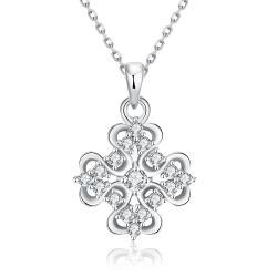 Vienna Jewelry White Gold Plated Classic Snowflake Necklace - Thumbnail 0