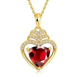 Vienna Jewelry Gold Plated Hollow Heart with Ruby Gem Necklace - Thumbnail 0