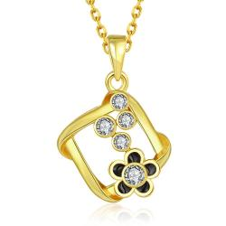 Vienna Jewelry Gold Plated Spiral Square Emblem Pendant Necklace - Thumbnail 0
