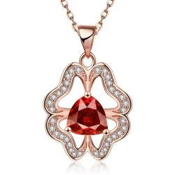 Vienna Jewelry Rose Gold Plated Abstract Ruby Clover Necklace