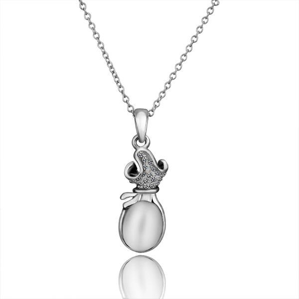 Vienna Jewelry White Gold Plated Large Ivory Center Necklace