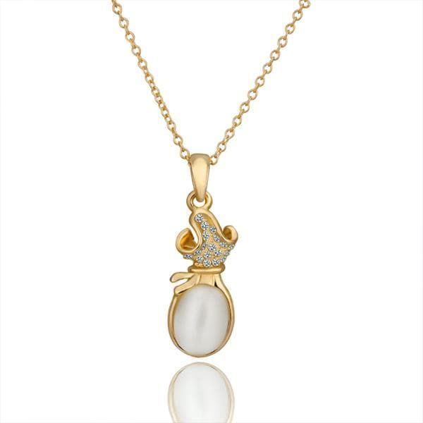 Vienna Jewelry Gold Plated Large Ivory Center Necklace
