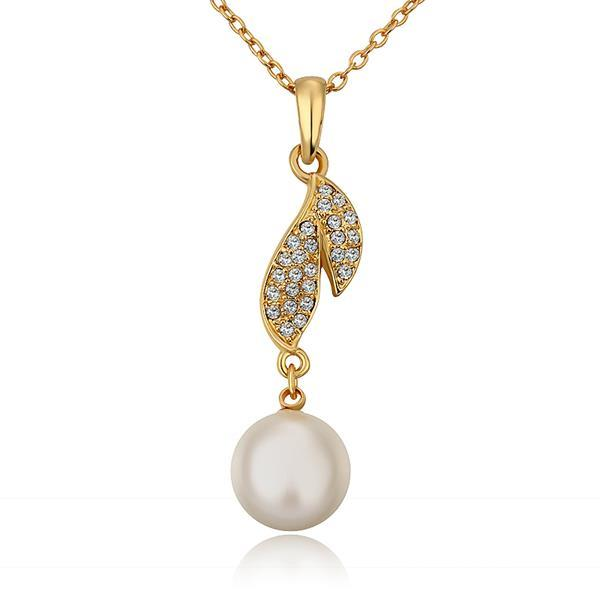 Vienna Jewelry Gold Plated Classical Dangling Pearl Necklace