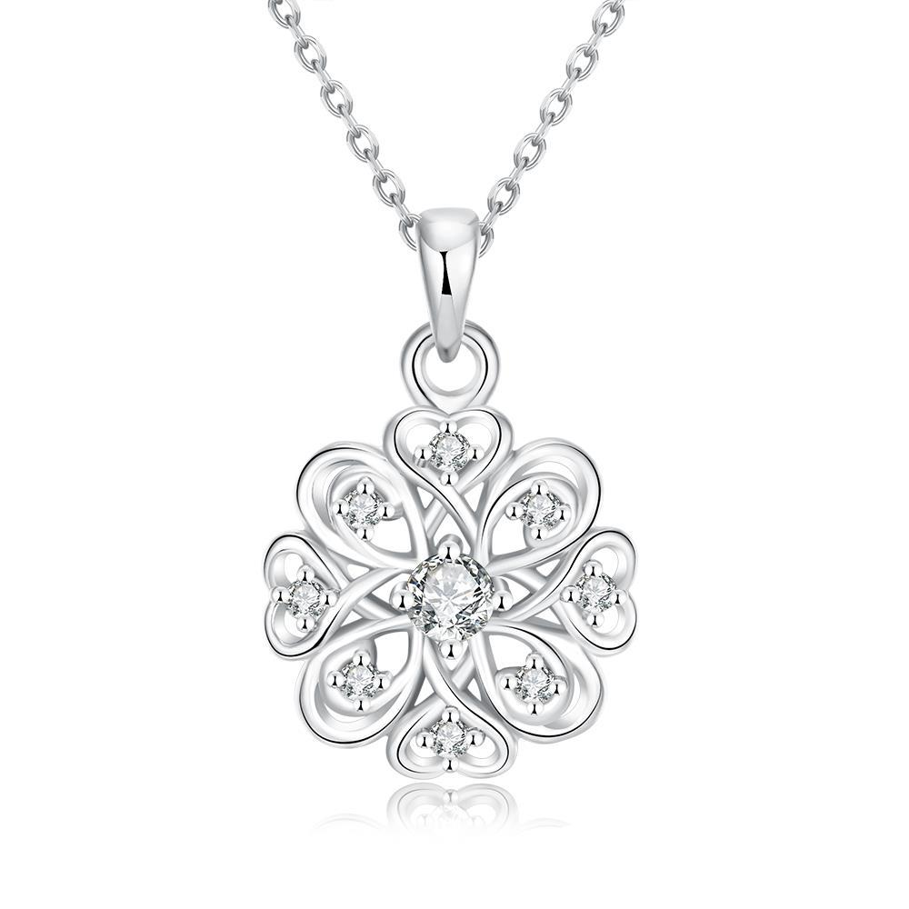 Vienna Jewelry White Gold Plated New York Snow Necklace