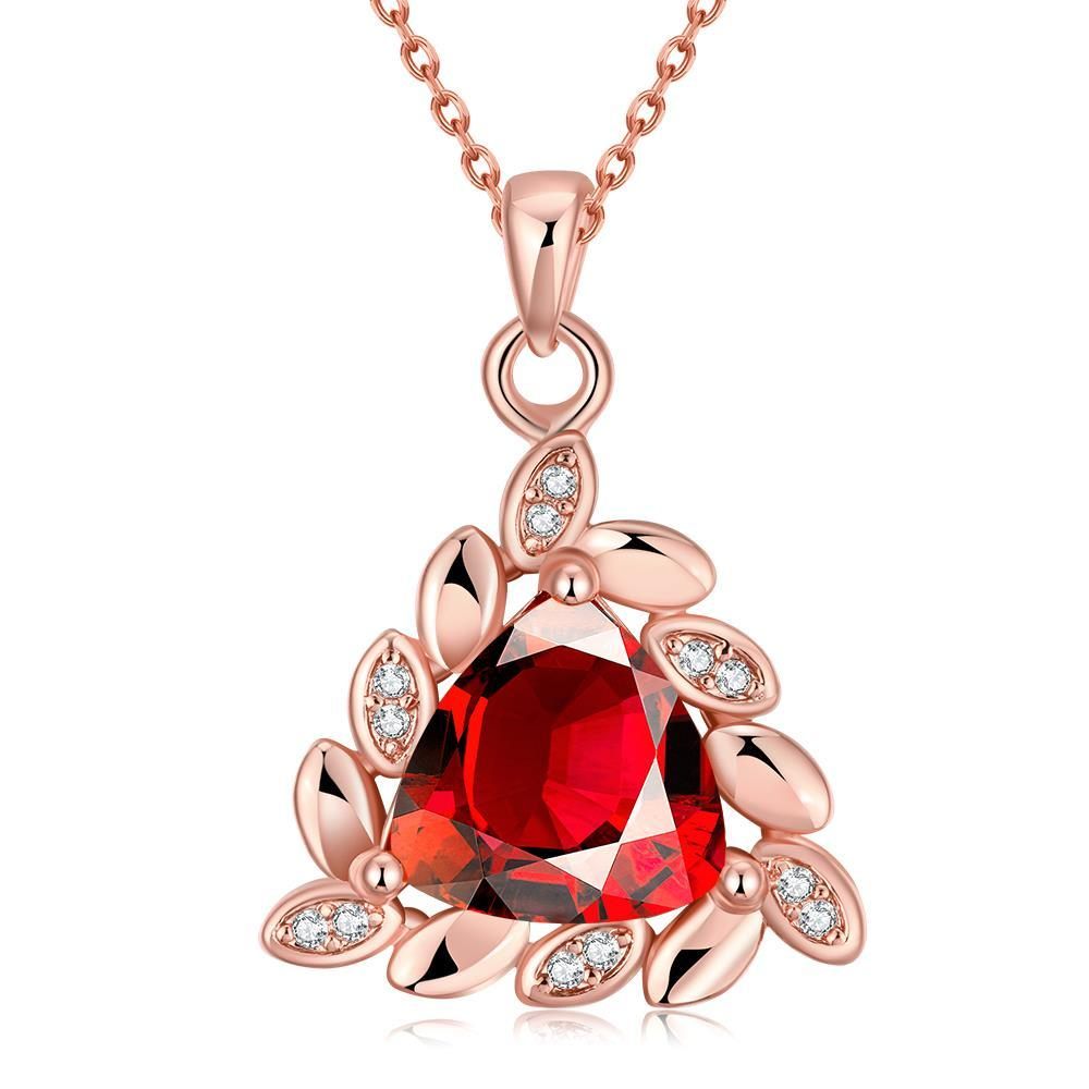 Vienna Jewelry Rose Gold Plated Triangular Ruby Necklace
