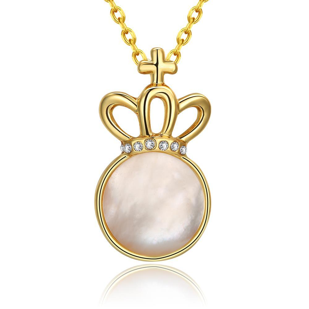 Vienna Jewelry Gold Plated Crown Ivory Drop Necklace