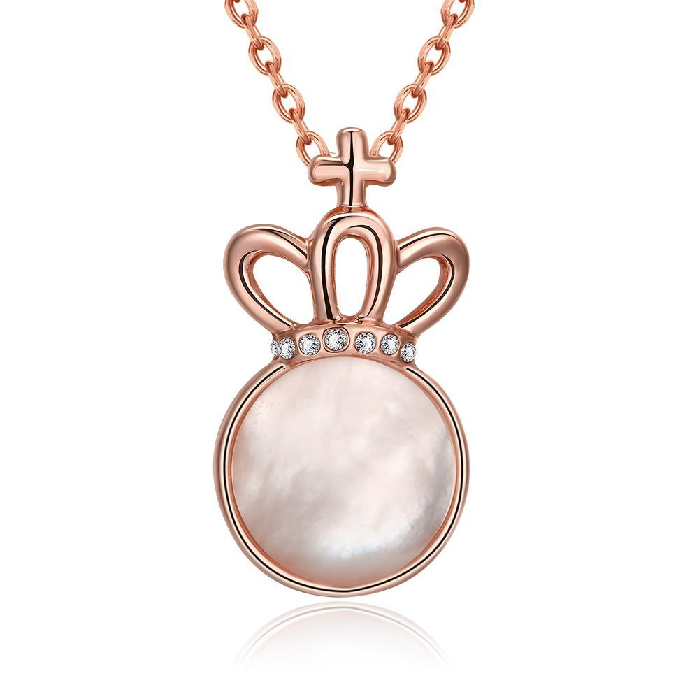 Vienna Jewelry Rose Gold Plated Crown Ivory Drop Necklace