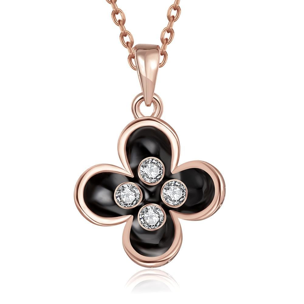 Vienna Jewelry Rose Gold Plated Quad-Clover Petals Necklace