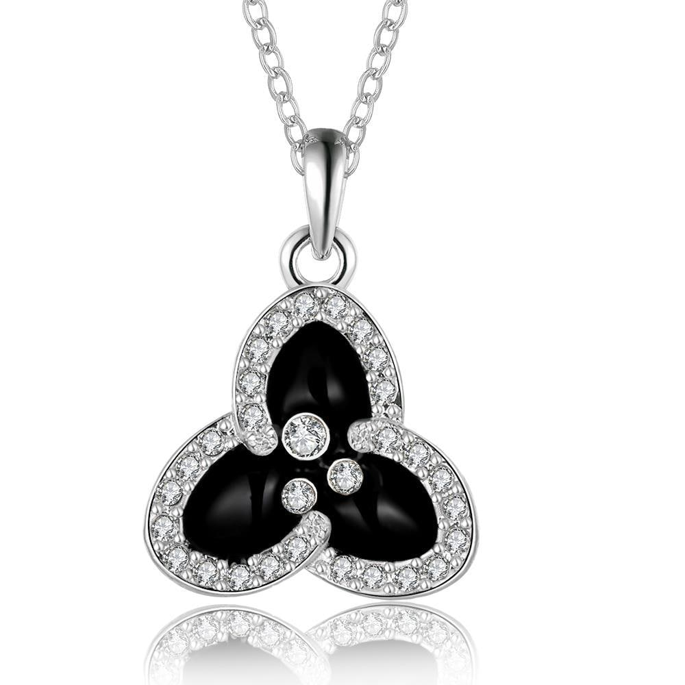 Vienna Jewelry White Gold Plated Trio-Petals Drop Necklace