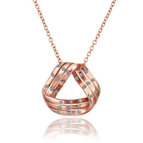 Vienna Jewelry Rose Gold Plated Curved Triangular Emblem Necklace