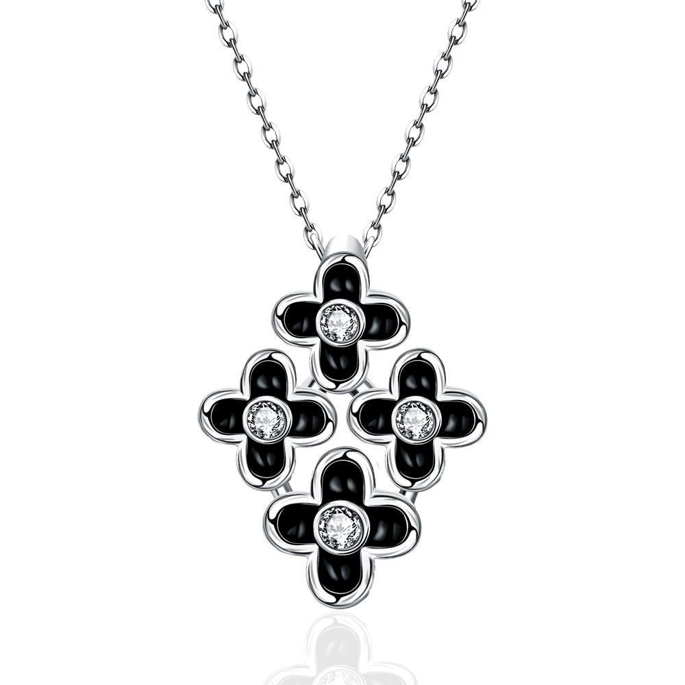 Vienna Jewelry White Gold Plated Quad-Floral Onyx Pendant Necklace
