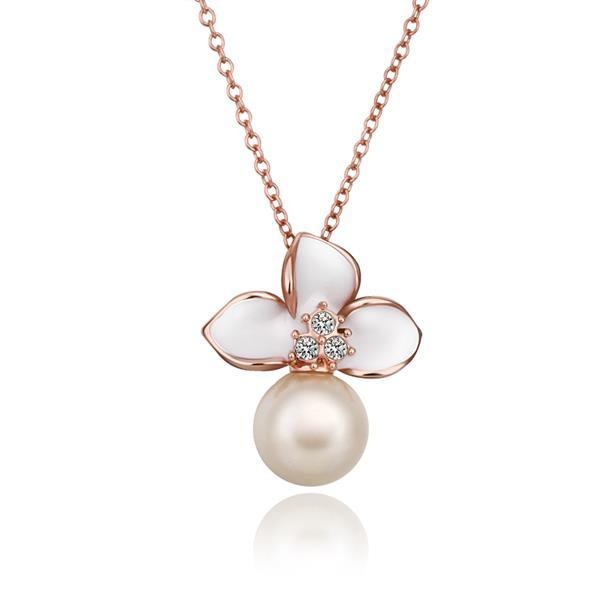 Vienna Jewelry Rose Gold Plated Ivory Trio-Petals Emblem Necklace