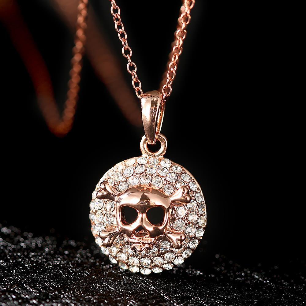 Vienna Jewelry Rose Gold Skull & Bones Emblem Necklace