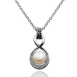 Vienna Jewelry White Gold Plated Infinite Pearl Drop Necklace - Thumbnail 0