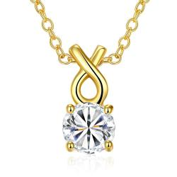 Vienna Jewelry Gold Plated Classic Tiffany's Diamond Necklace - Thumbnail 0