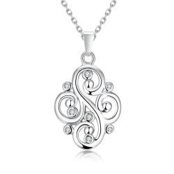 Vienna Jewelry White Gold Plated Curved Iron Necklace - Thumbnail 0