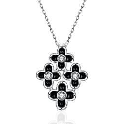 Vienna Jewelry White Gold Plated Quad-Floral Onyx Pendant Necklace - Thumbnail 0