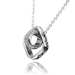 Vienna Jewelry White Gold Plated Rolling Rocks Emblem Necklace - Thumbnail 0