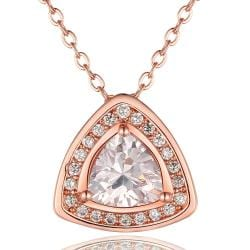 Vienna Jewelry Rose Gold Plated Pyramid Drop Necklace - Thumbnail 0