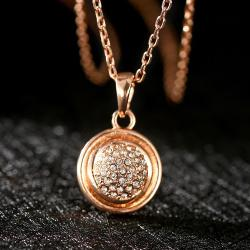 Vienna Jewelry Rose Gold Plated Crystal Infused Pendant Necklace