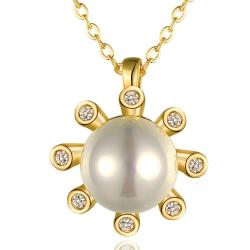 Vienna Jewelry Gold Plated Pearl Snowflake Necklace - Thumbnail 0