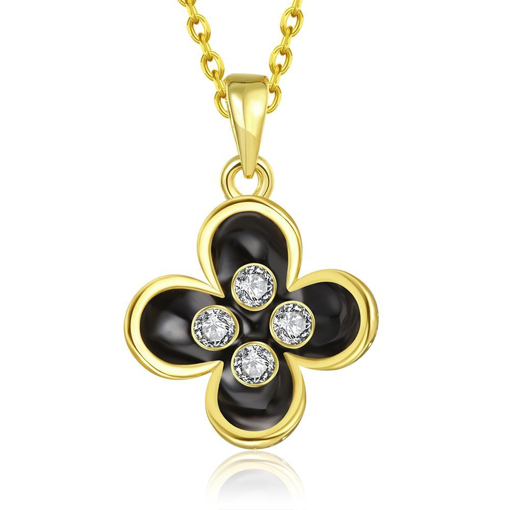 Vienna Jewelry Gold Plated Quad-Clover Petals Necklace
