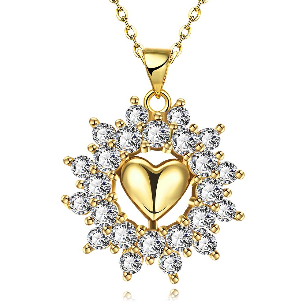 Vienna Jewelry Gold Plated Petite Heart Snowflake Necklace