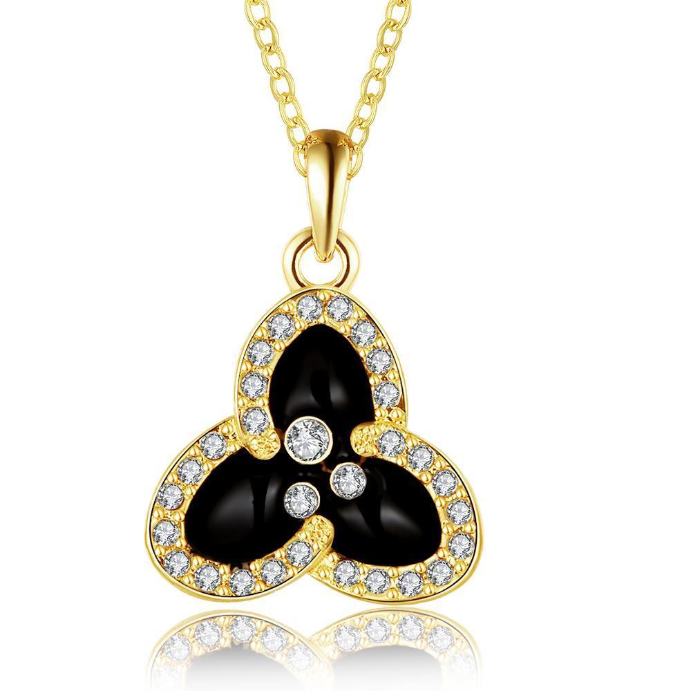Vienna Jewelry Gold Plated Trio-Petals Drop Necklace