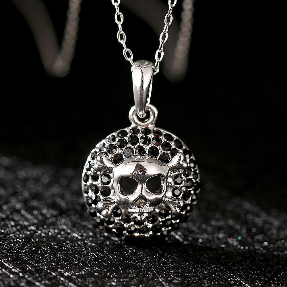 Vienna Jewelry White Gold Skull & Bones Emblem Necklace